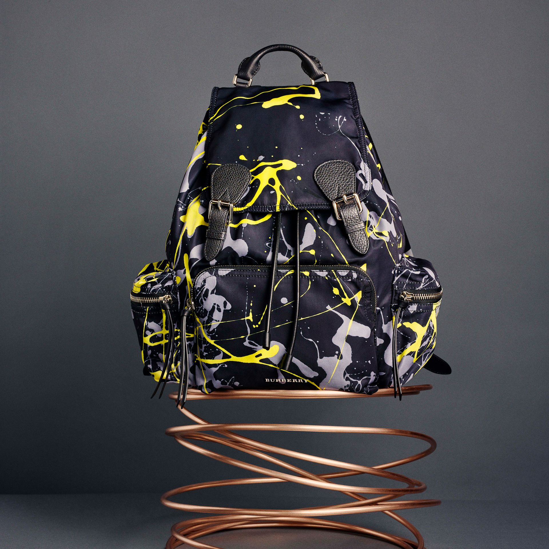 The Large Rucksack in Splash Print in Black/yellow | Burberry - gallery image 7