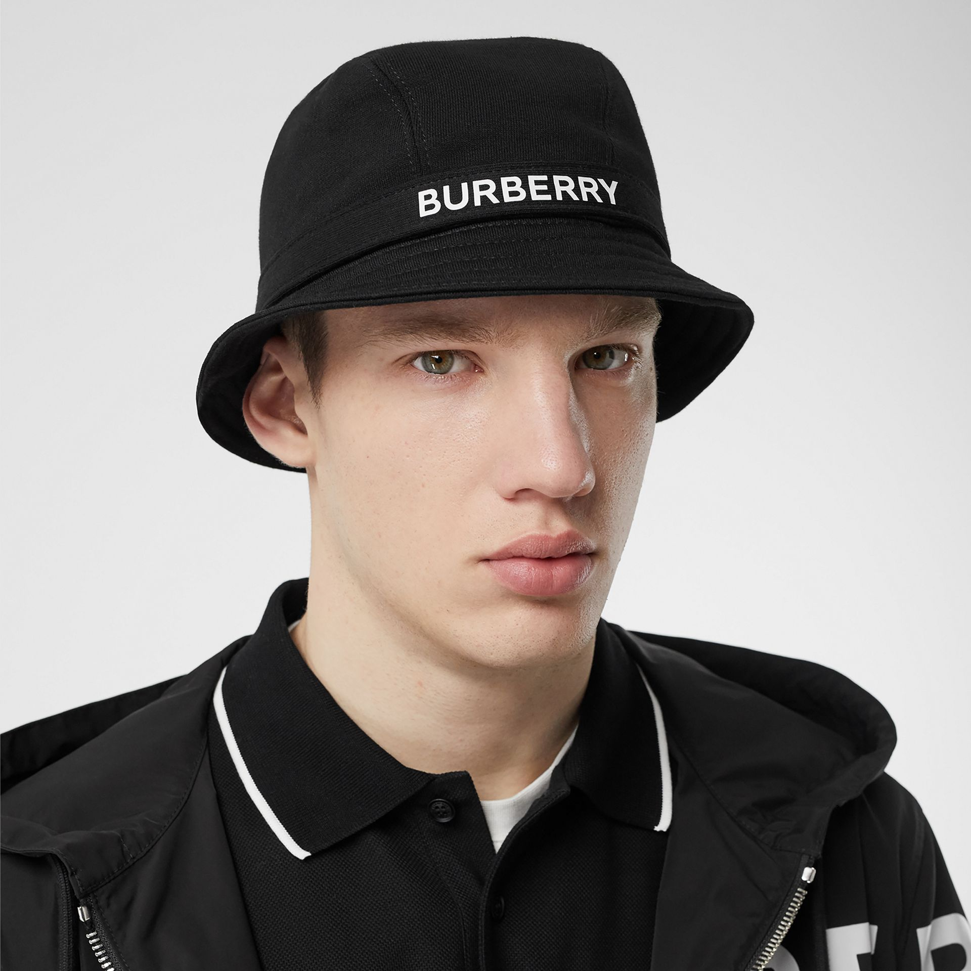 Logo Detail Bucket Hat in Black | Burberry - gallery image 3
