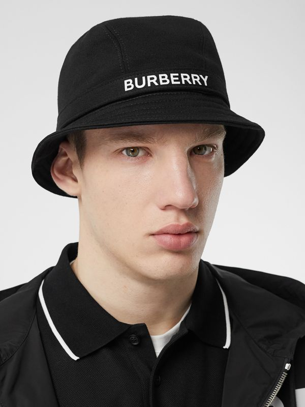 Logo Detail Bucket Hat in Black | Burberry United Kingdom - cell image 3