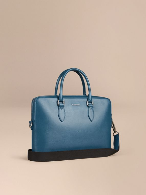 Sac The Barrow fin en cuir London Bleu Minéral