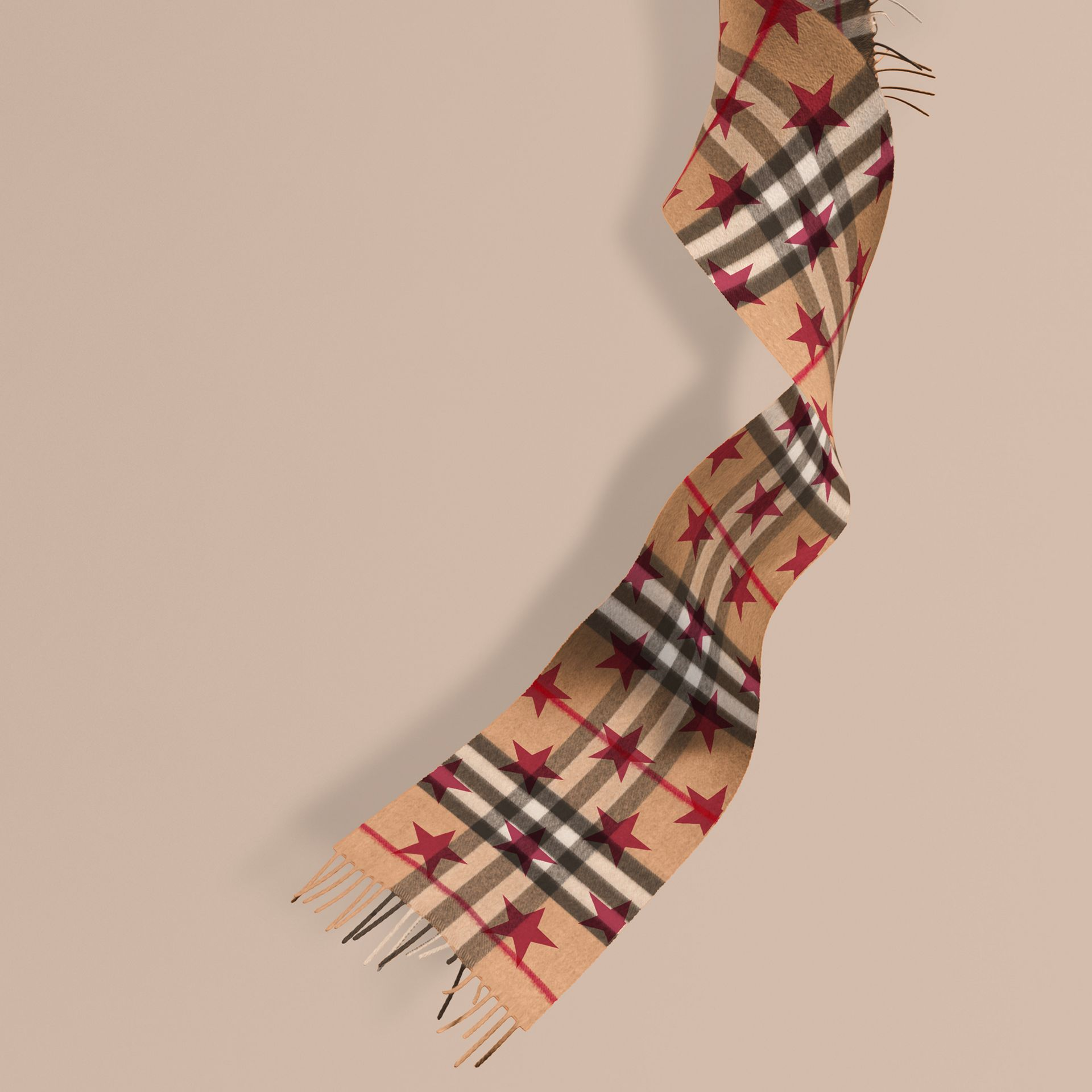 Fuschia The Mini Classic Cashmere Scarf in Check with Star Print Fuschia - gallery image 1