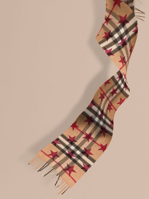 The Mini Classic Check Cashmere Scarf with Stars in Fuschia