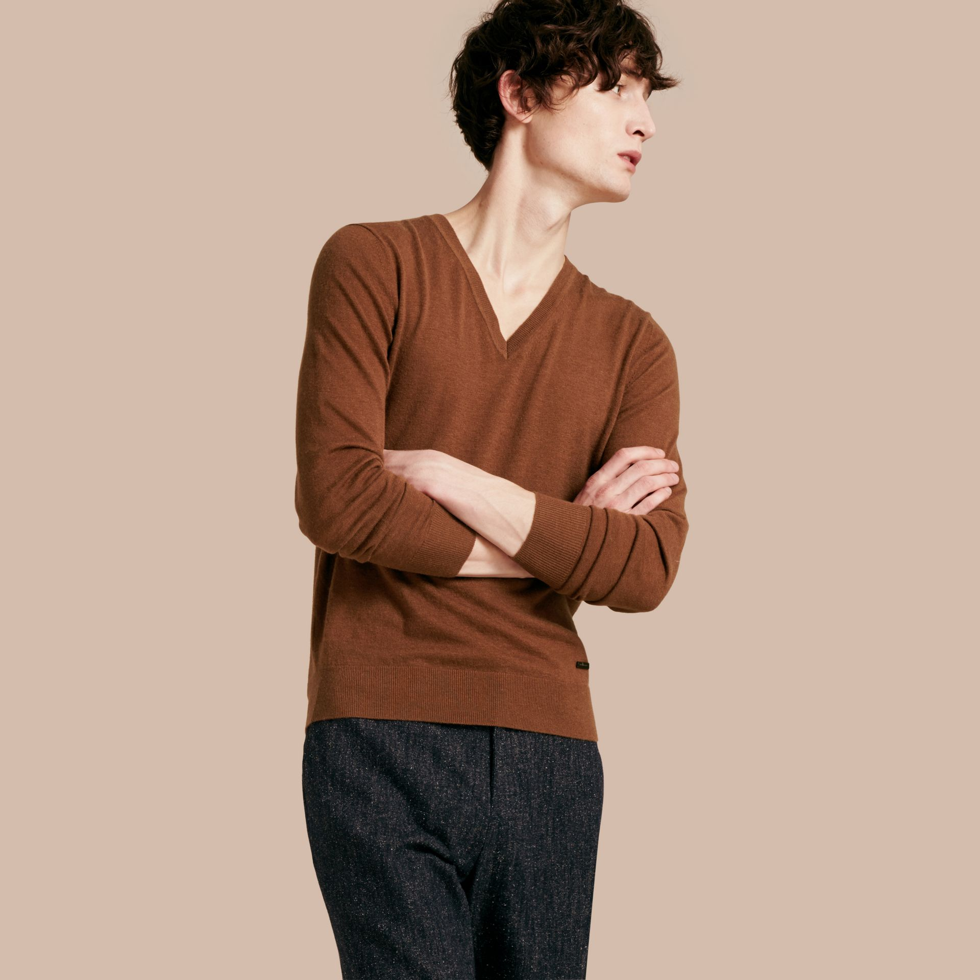 Dark camel Cashmere V-neck Sweater Dark Camel - gallery image 1