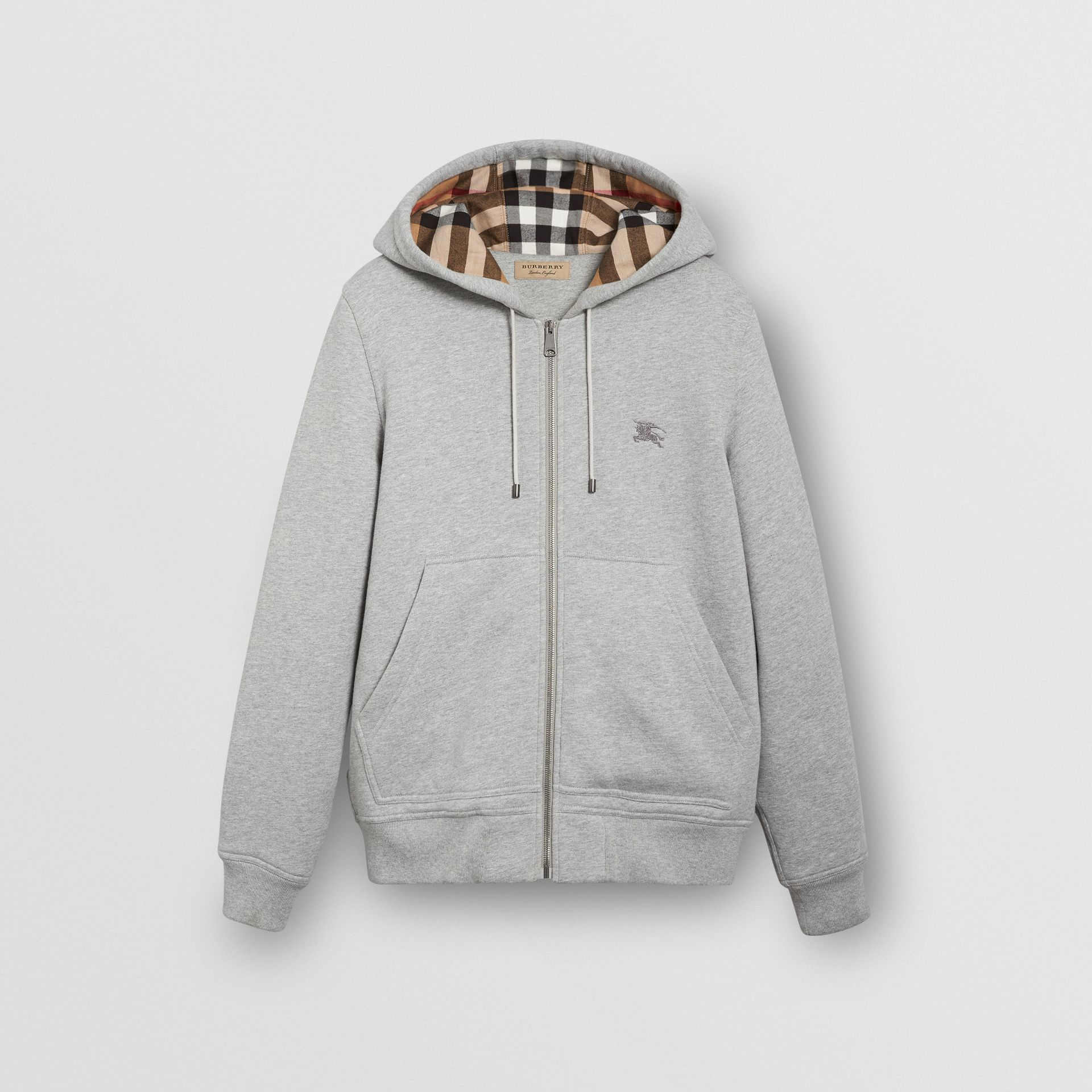 Check Detail Jersey Hooded Top in Pale Grey Melange - Men | Burberry United Kingdom - gallery image 3