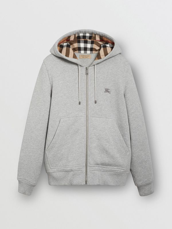 Check Detail Jersey Hooded Top in Pale Grey Melange - Men | Burberry - cell image 3