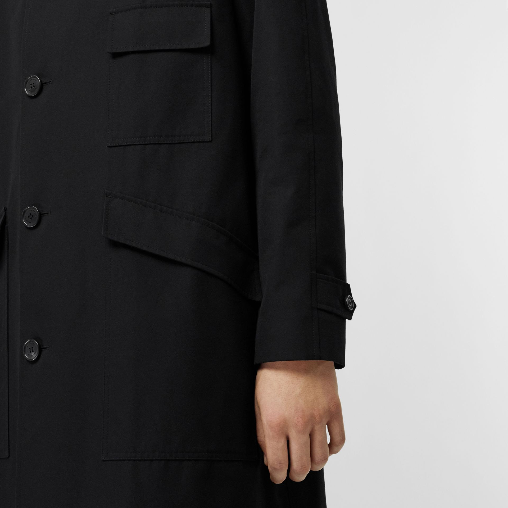 Contrast Shearling Collar Cotton Car Coat in Black - Men | Burberry Singapore - gallery image 5