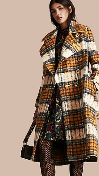 Tartan Brushed Wool Mohair Coat