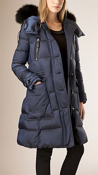 Down-filled Puffer Coat with Fox Fur Trim Hood