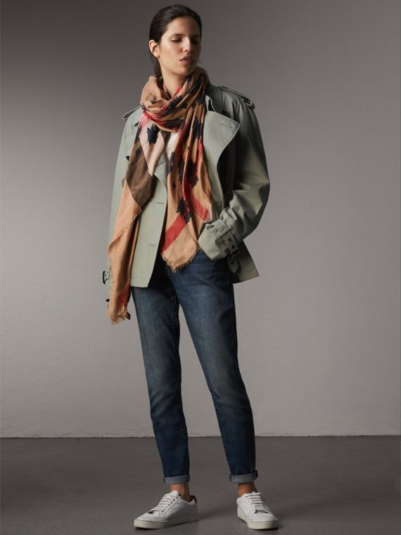 Beasts Print and Check Silk Wool Blend Square Scarf in Camel/stone Blue | Burberry Hong Kong - cell image 2