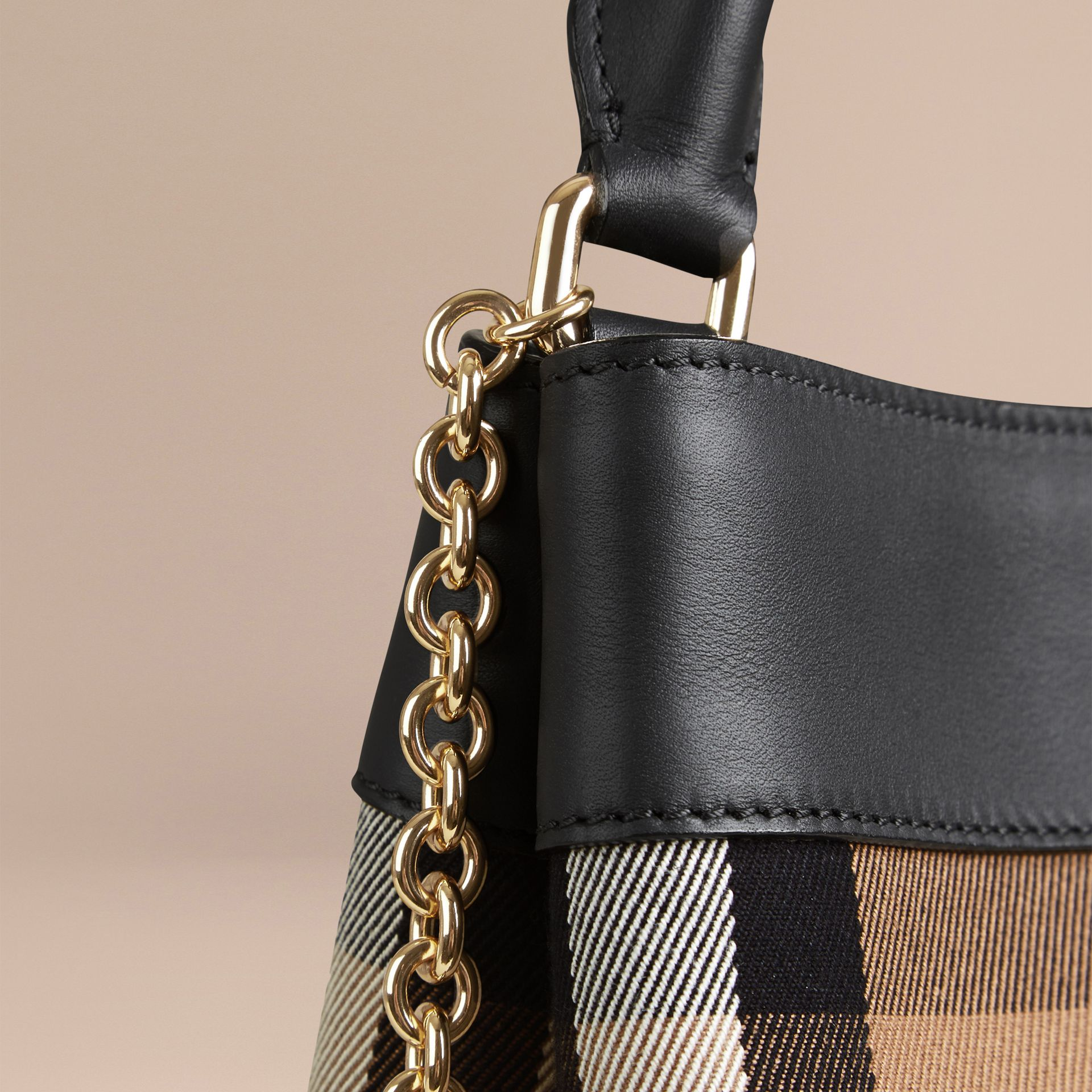 Black The Small Bucket Bag in House Check and Leather - gallery image 6