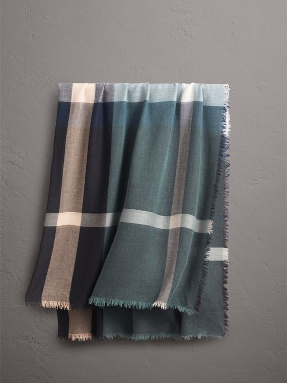 Check Modal and Wool Square Scarf in Slate Blue