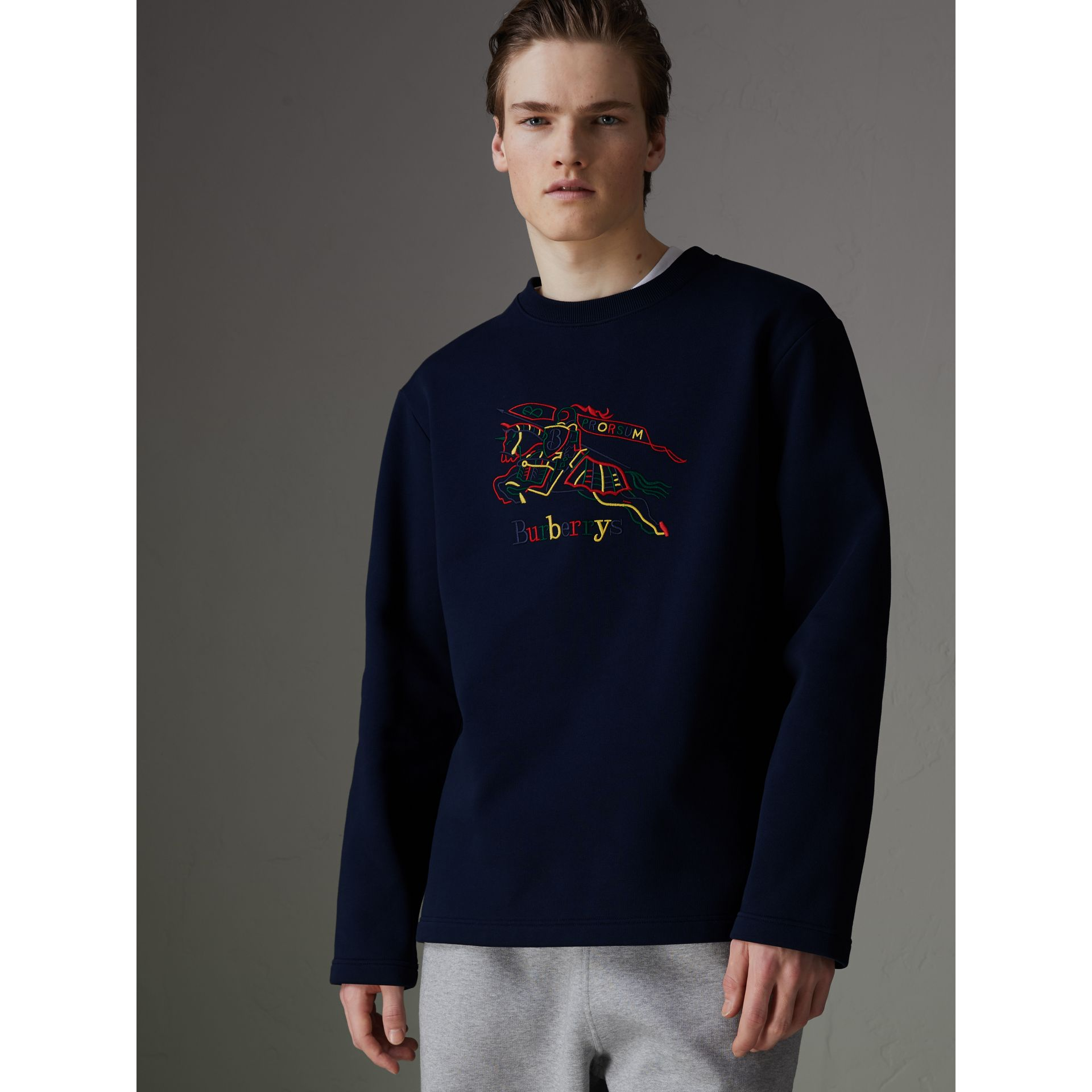 Reissued Jersey Sweatshirt in Dark Blue - Men | Burberry - gallery image 4