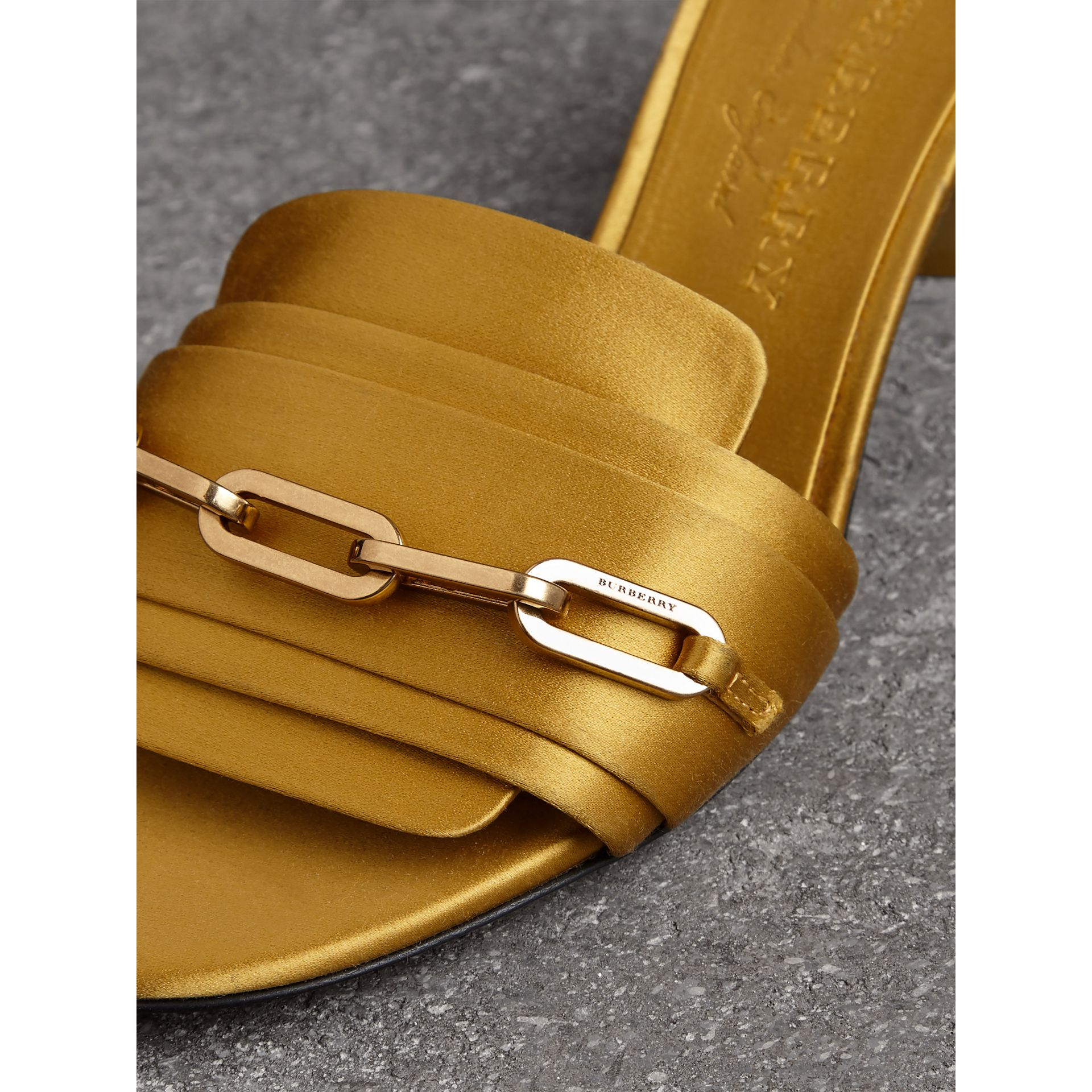 Link Detail Satin Heeled Slides in Antique Yellow - Women | Burberry - gallery image 1