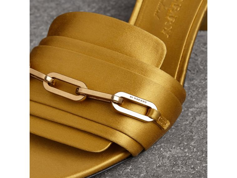 Link Detail Satin Heeled Slides in Antique Yellow - Women | Burberry - cell image 1