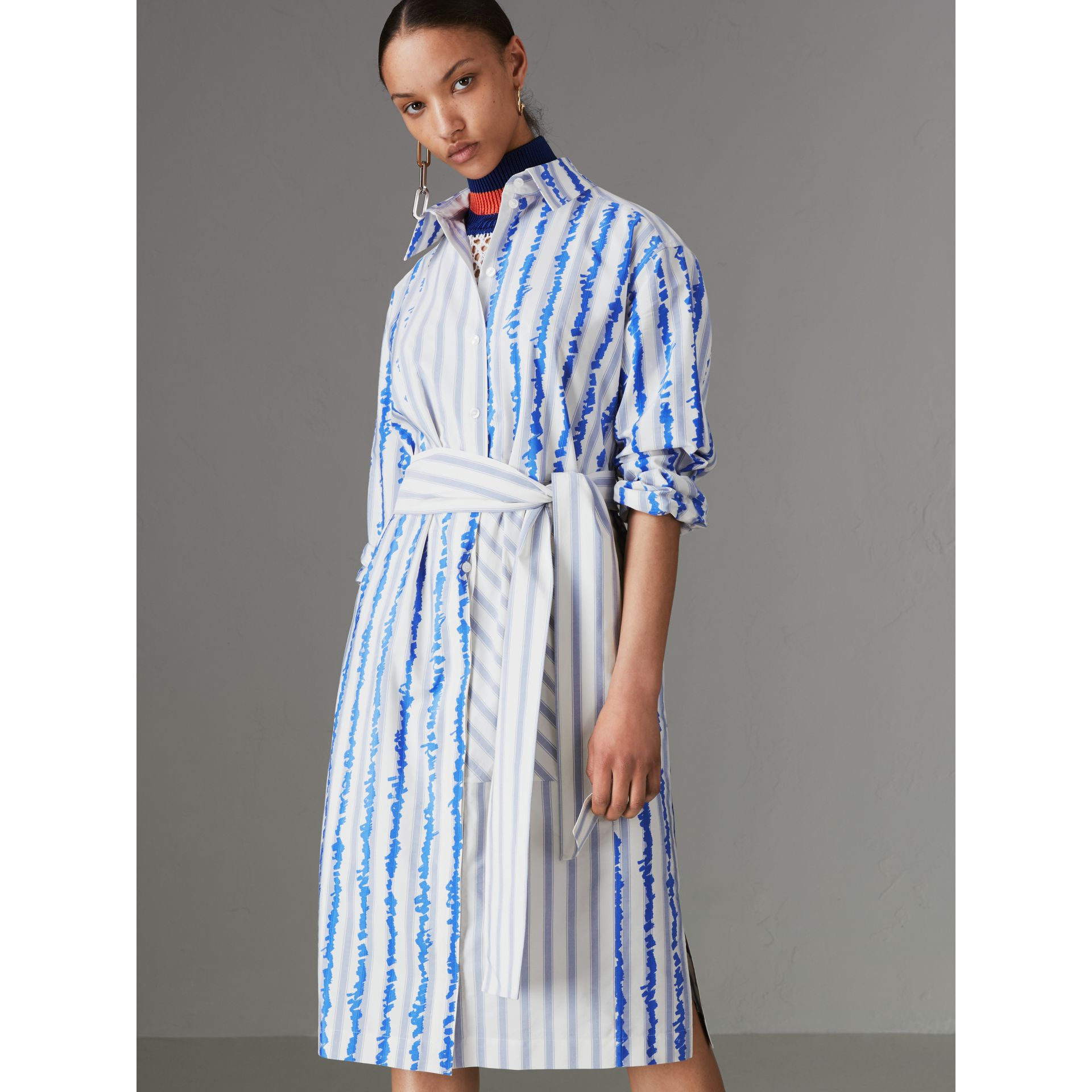 Scribble Stripe Silk Cotton Shirt Dress in Navy - Women | Burberry - gallery image 0