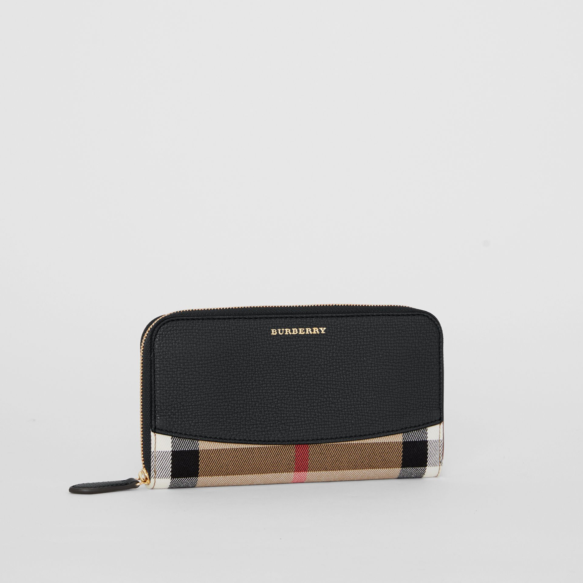 House Check and Leather Ziparound Wallet in Black - Women | Burberry - gallery image 4