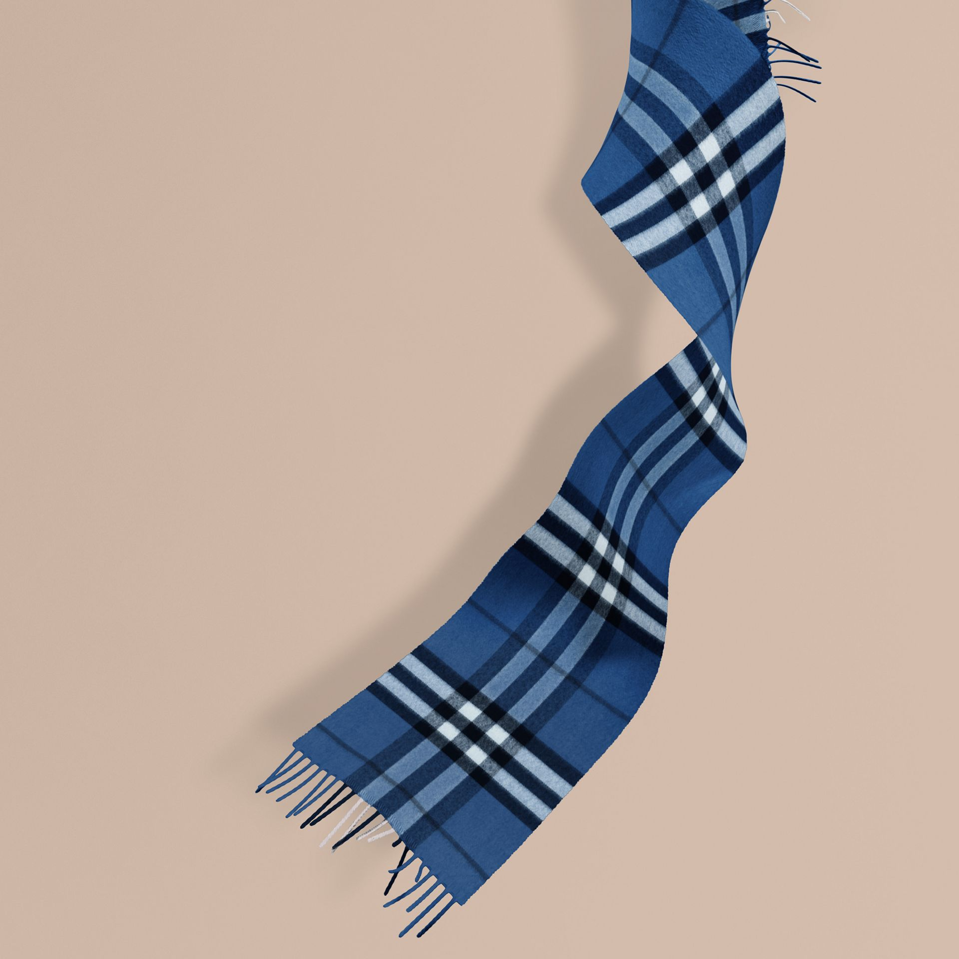 The Mini Classic Cashmere Scarf in Check in Cadet Blue - gallery image 1