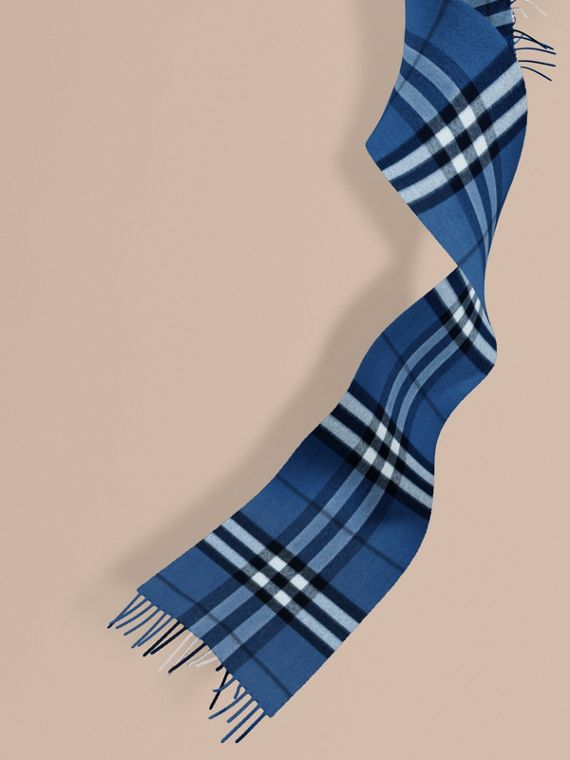 The Mini Classic Cashmere Scarf in Check in Cadet Blue