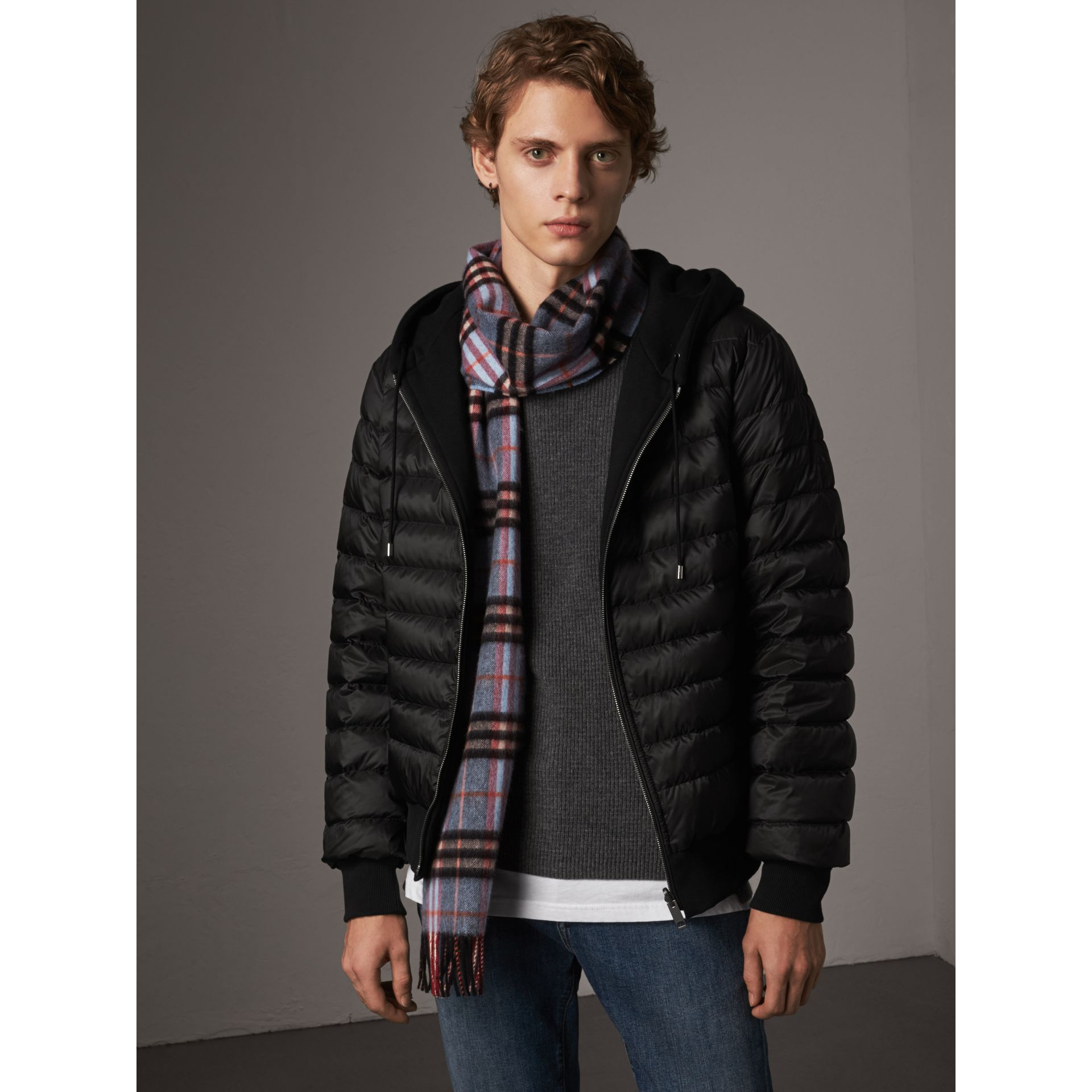 Reversible Down-filled Hooded Bomber Jacket in Black - Men | Burberry - gallery image 4
