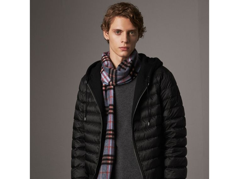 Reversible Down-filled Hooded Bomber Jacket in Black - Men | Burberry Australia - cell image 4