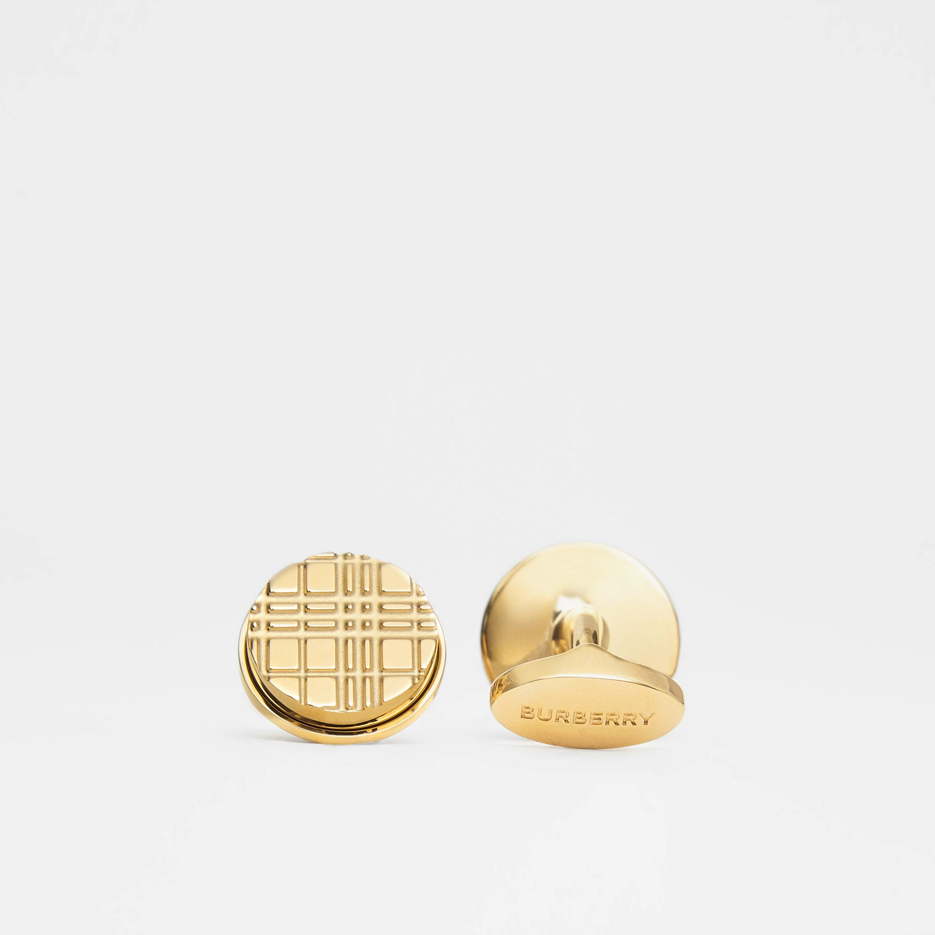 Gold-plated Check-engraved Round Cufflinks in Light - Men | Burberry - gallery image 1