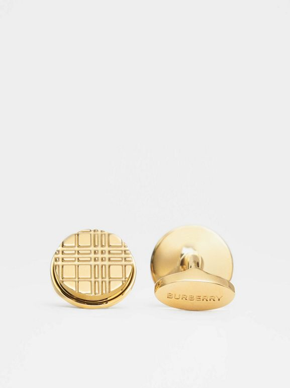 Gold-plated Check-engraved Round Cufflinks in Light - Men | Burberry - cell image 1