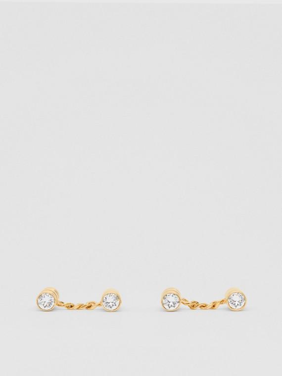 Abotoaduras de corrente folheadas a ouro com cristais (Dourado Claro)