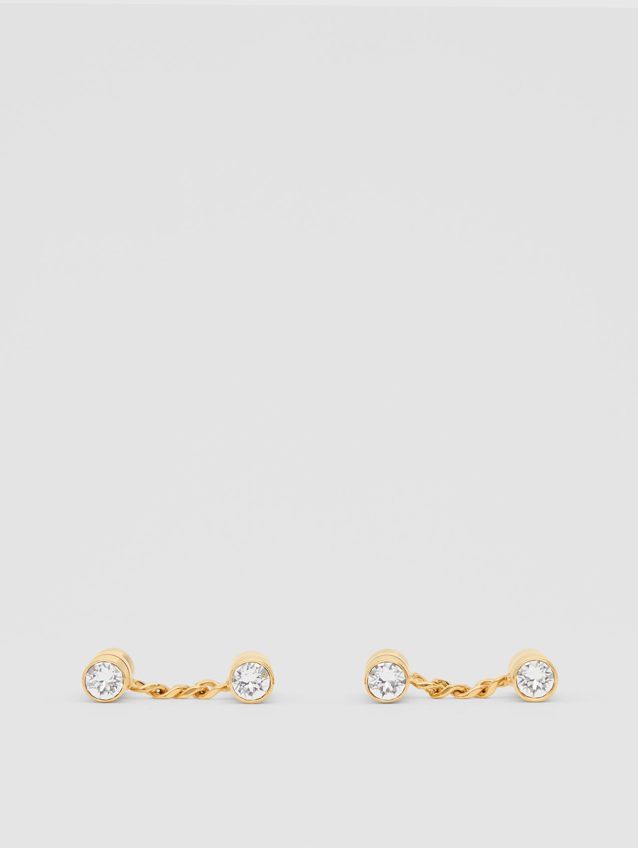 Crystal Gold-plated Bolt Chain-link Cufflinks in Light
