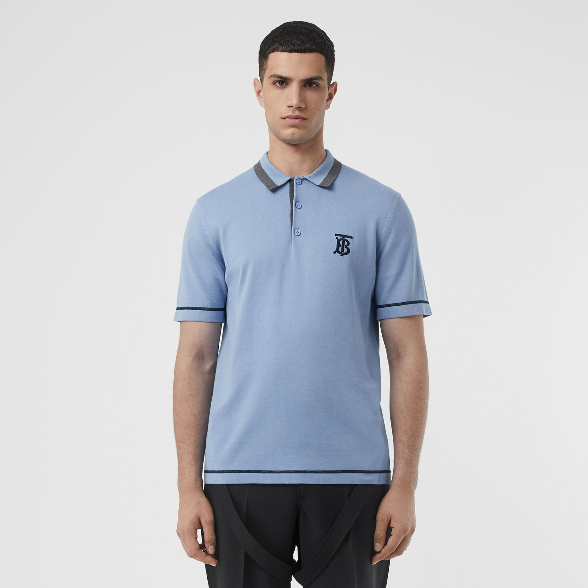 Monogram Motif Tipped Cotton Polo Shirt in Baby Blue - Men | Burberry - gallery image 4