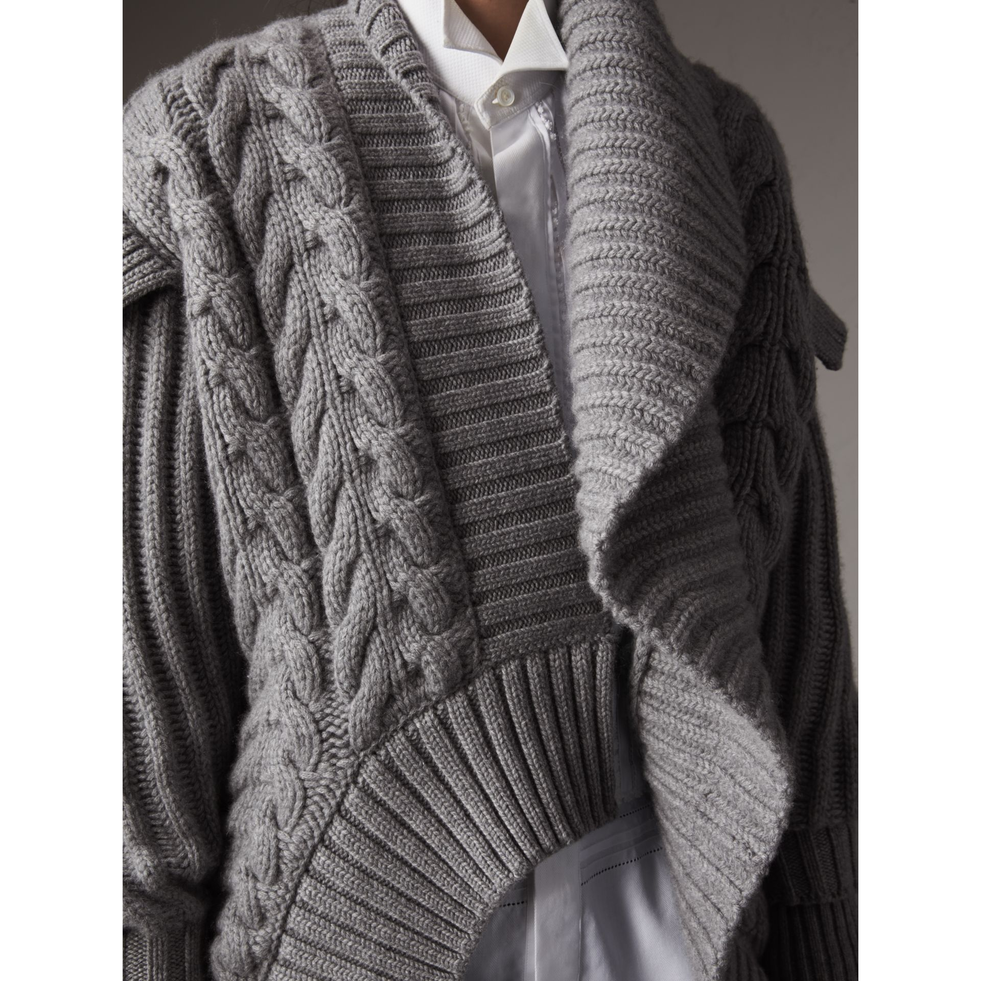 Cable Knit Cashmere Asymmetric Cardigan in Grey Melange - Women | Burberry - gallery image 5