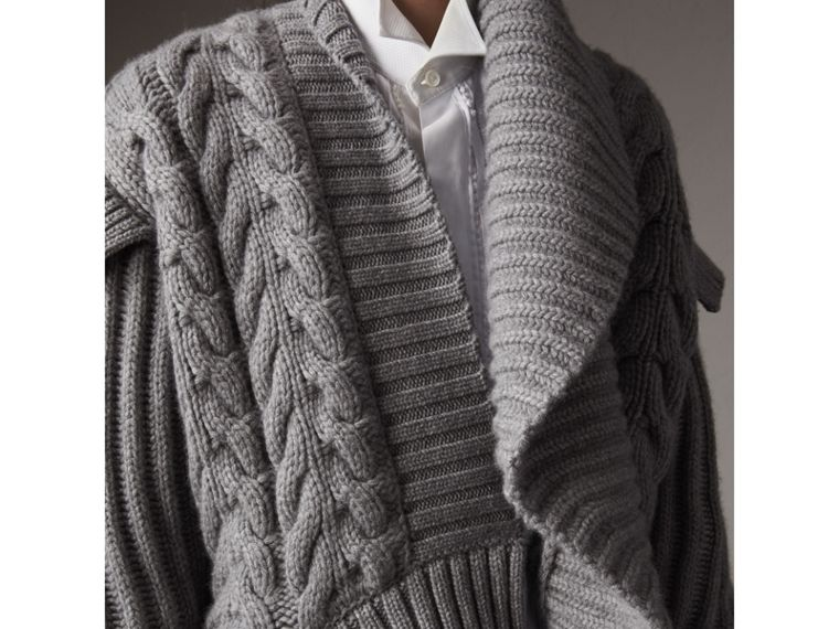 Cable Knit Cashmere Asymmetric Cardigan in Grey Melange - Women | Burberry Australia - cell image 4