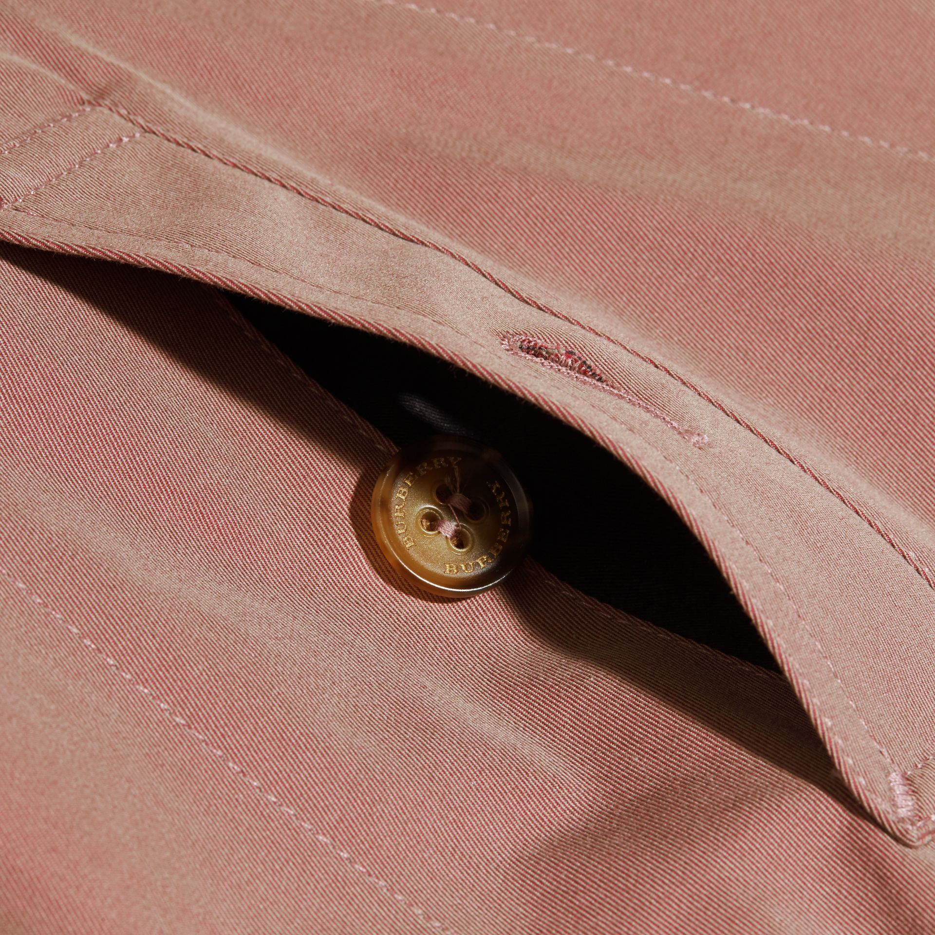 Detachable Hood Tropical Gabardine Trench Coat Antique Rose - gallery image 2