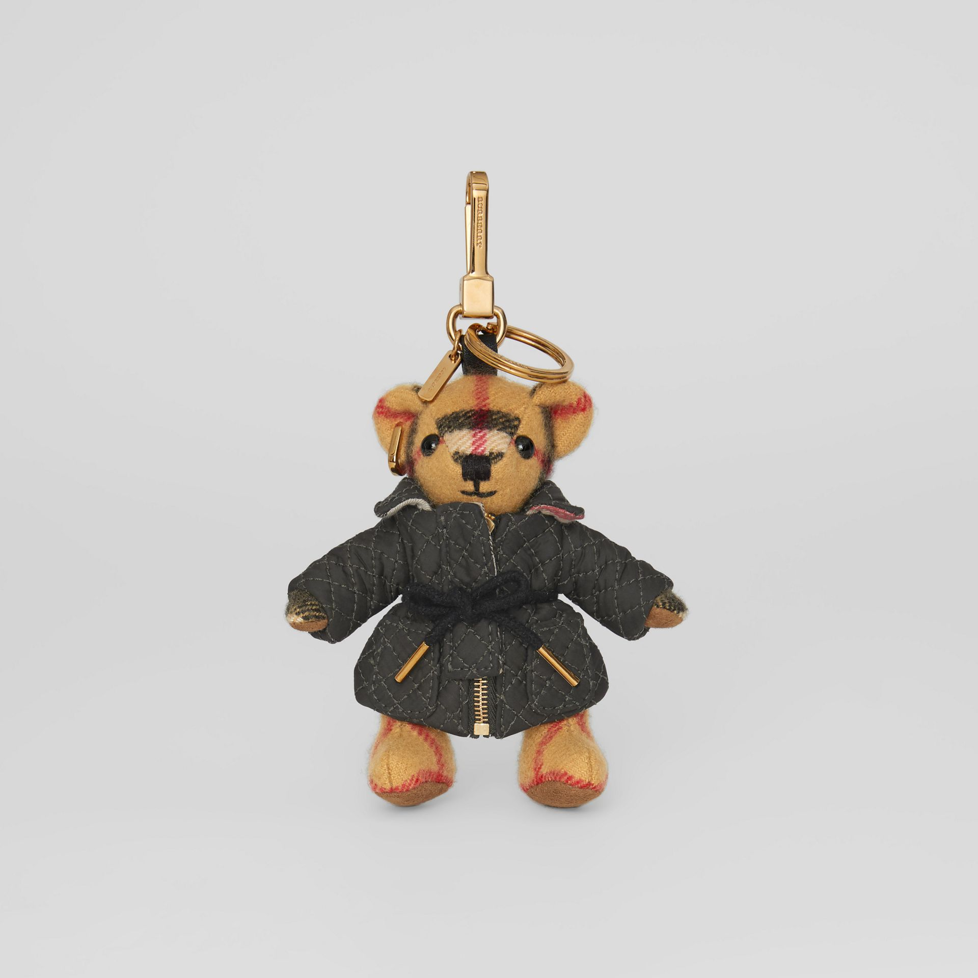 Bijou porte-clés Thomas Bear avec veste matelassée (Jaune Antique) | Burberry - photo de la galerie 2