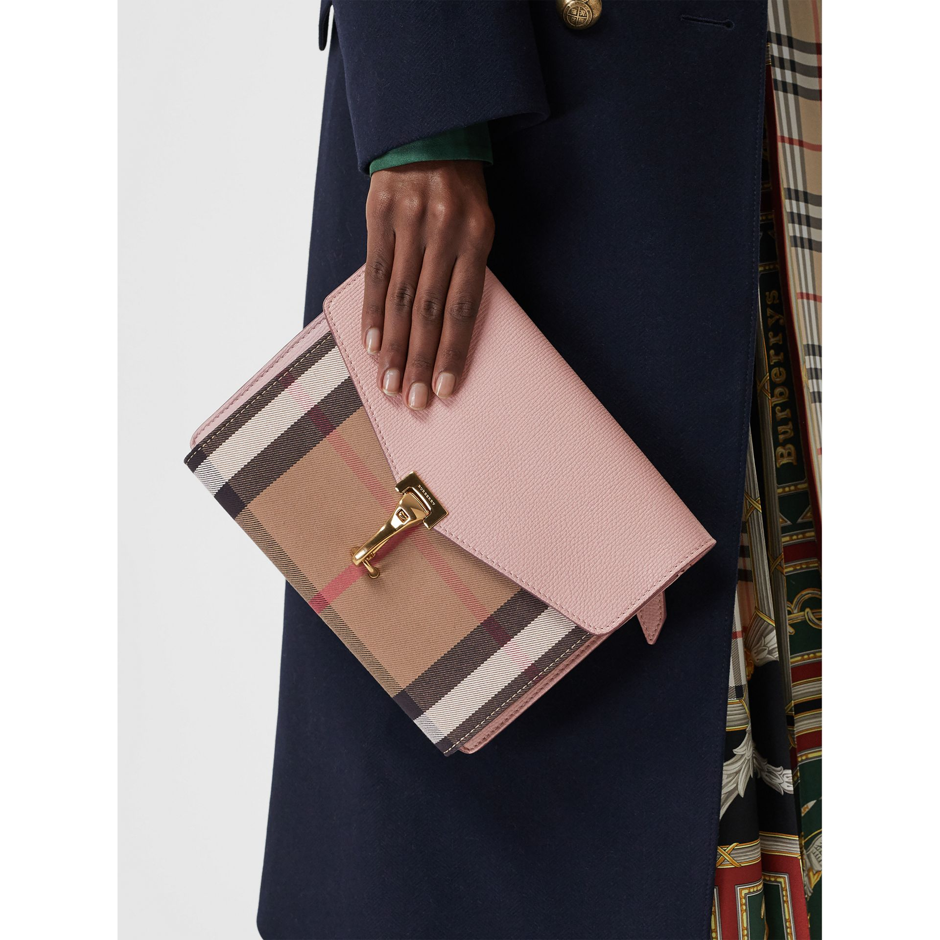 Small Leather and House Check Crossbody Bag in Pale Orchid - Women | Burberry Australia - gallery image 3
