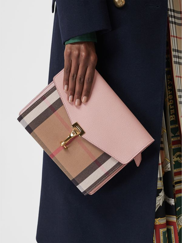 Small Leather and House Check Crossbody Bag in Pale Orchid - Women | Burberry Australia - cell image 3