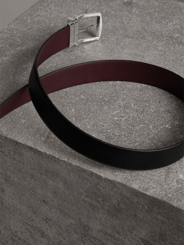 Reversible Leather Belt in Black - Men | Burberry United Kingdom - cell image 3
