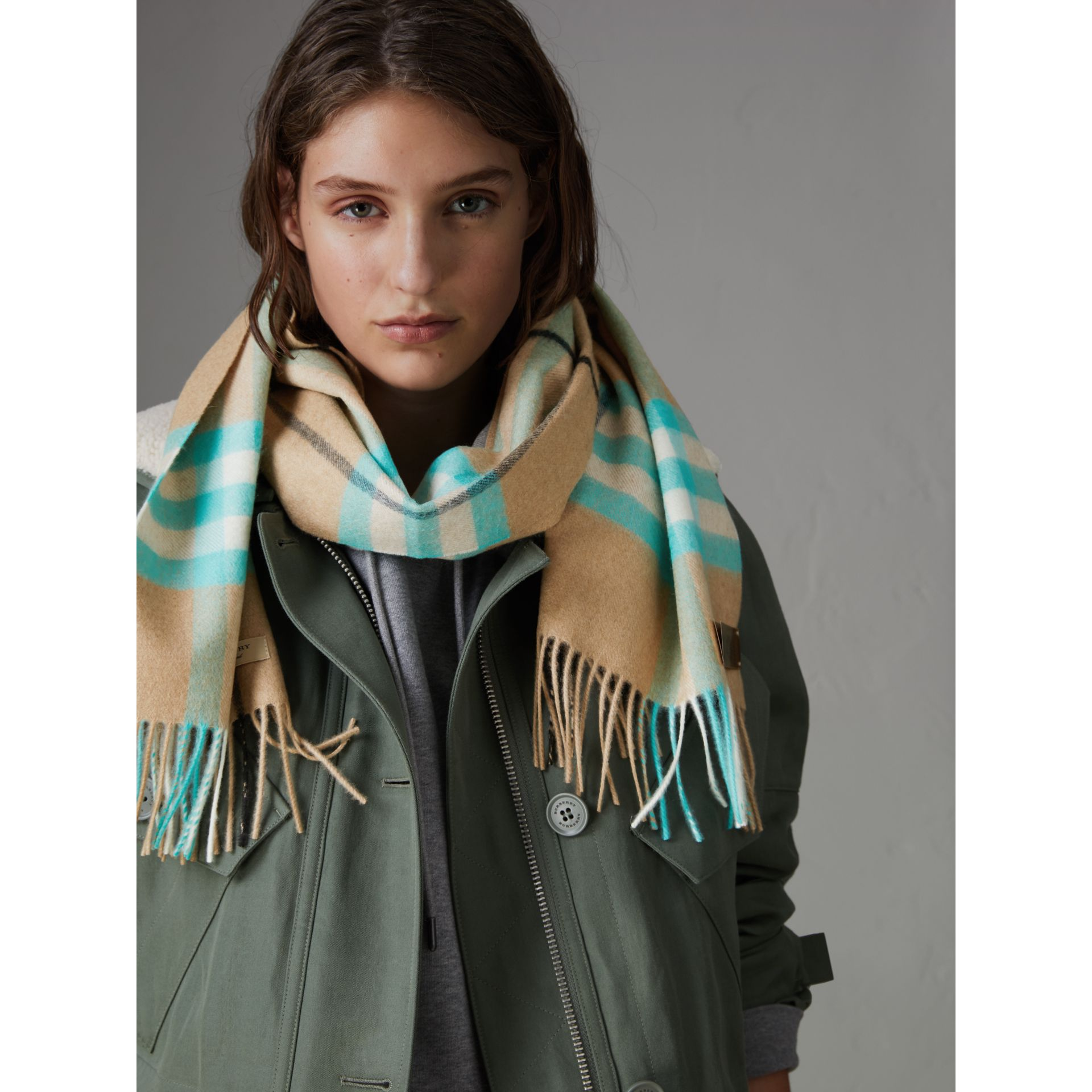 Check Cashmere Scarf in Bright Aqua | Burberry Australia - gallery image 4