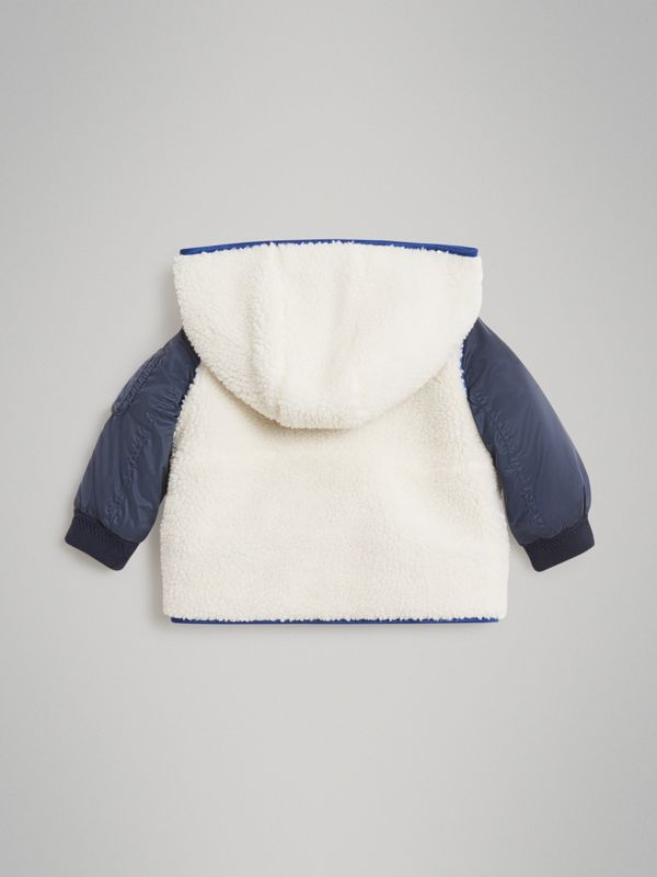 Faux Shearling Hooded Jacket in Natural White - Children | Burberry Australia - cell image 3