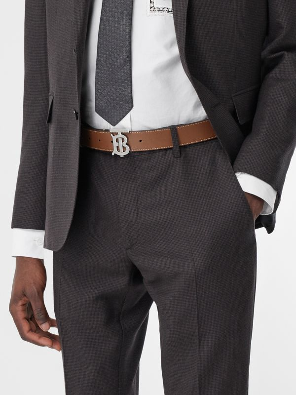Monogram Motif Topstitched Leather Belt in Tan - Men | Burberry - cell image 2