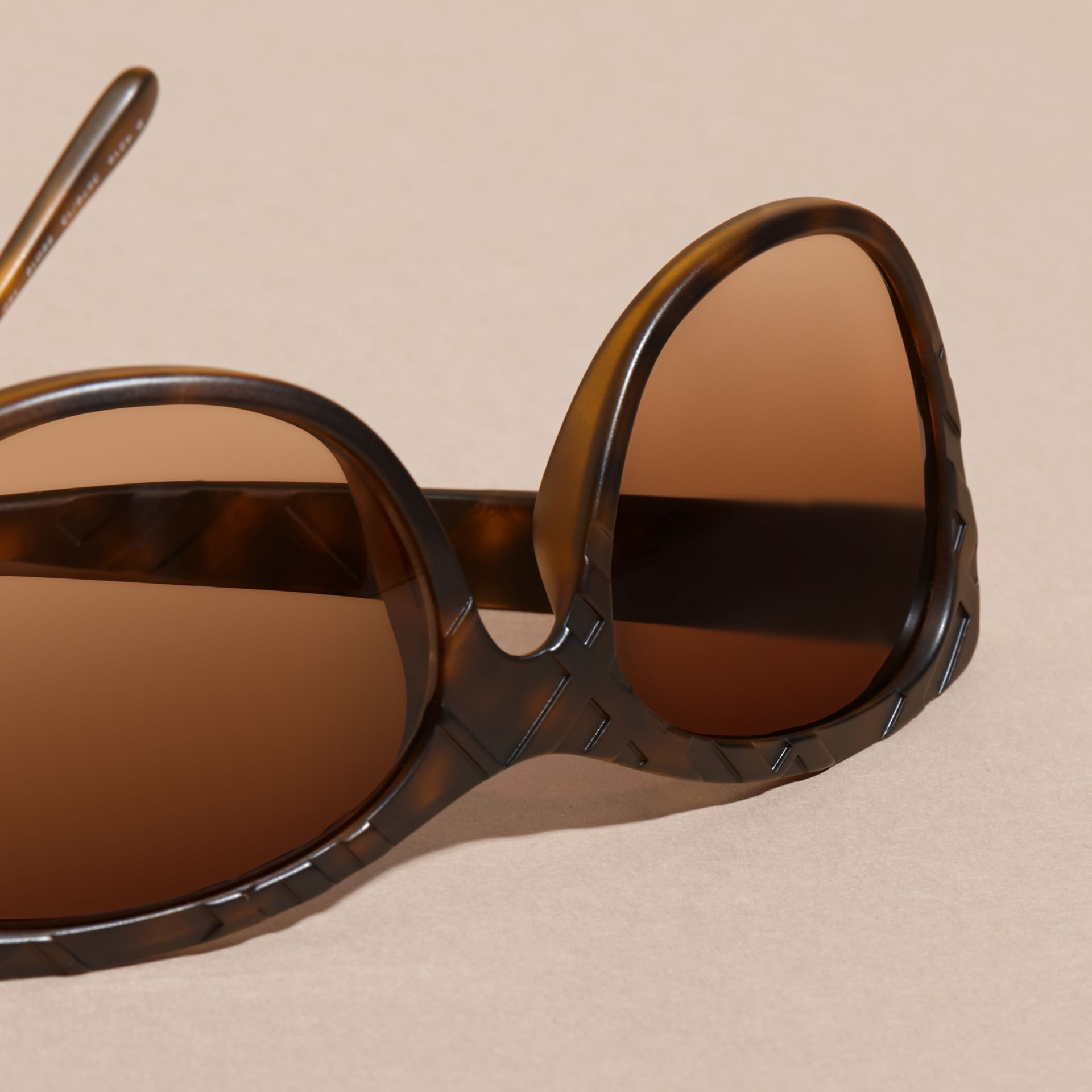 Tortoise shell 3D Check Square Frame Sunglasses Tortoise Shell - gallery image 2