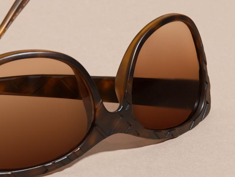 Tortoise shell 3D Check Square Frame Sunglasses Tortoise Shell - cell image 1