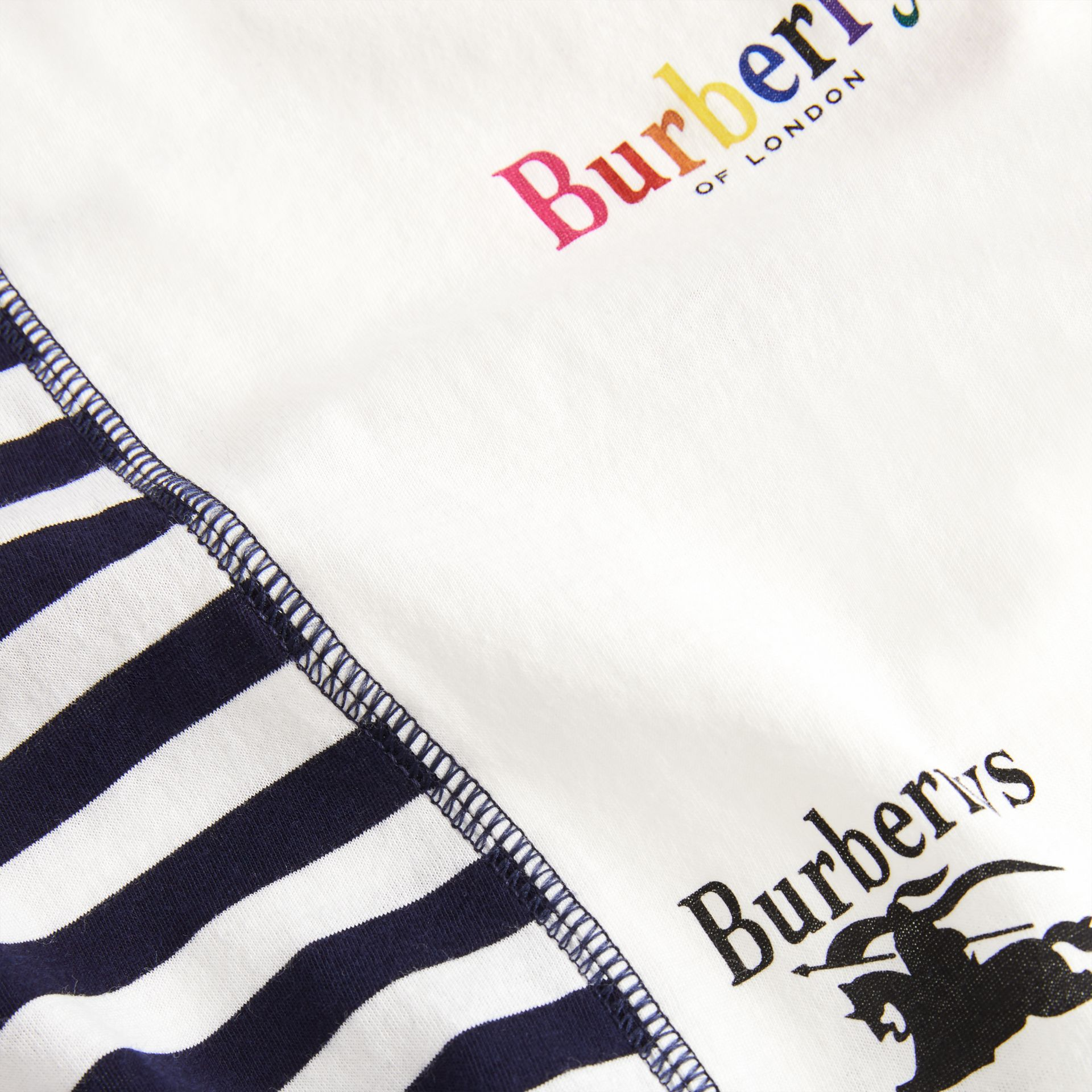 Archive Logo Print Striped Cotton T-shirt in Navy - Boy | Burberry - gallery image 1