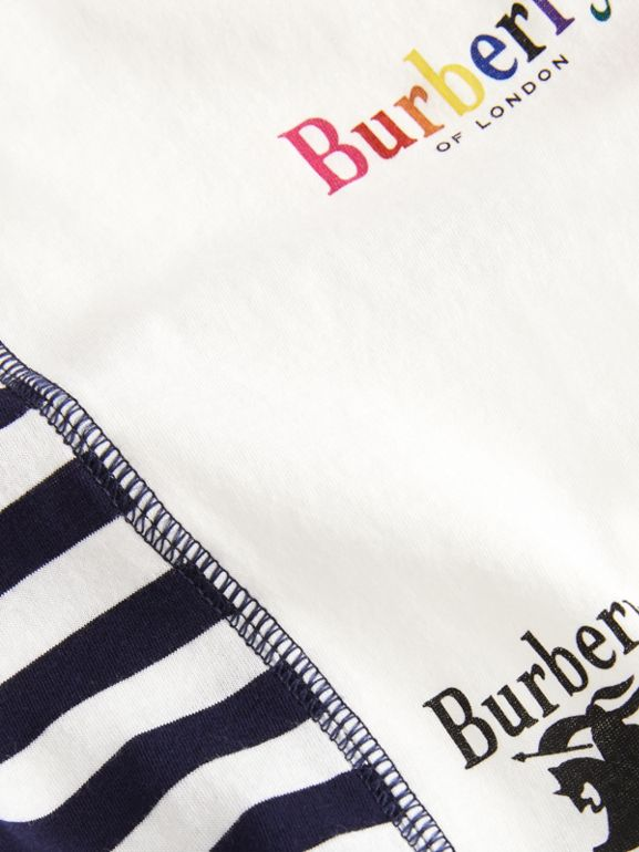 Archive Logo Print Striped Cotton T-shirt in Navy | Burberry - cell image 1