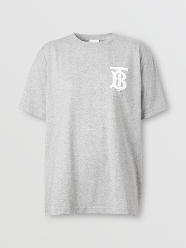 Monogram Motif Cotton Oversized T-shirt in Pale Grey Melange - Women | Burberry - cell image 3