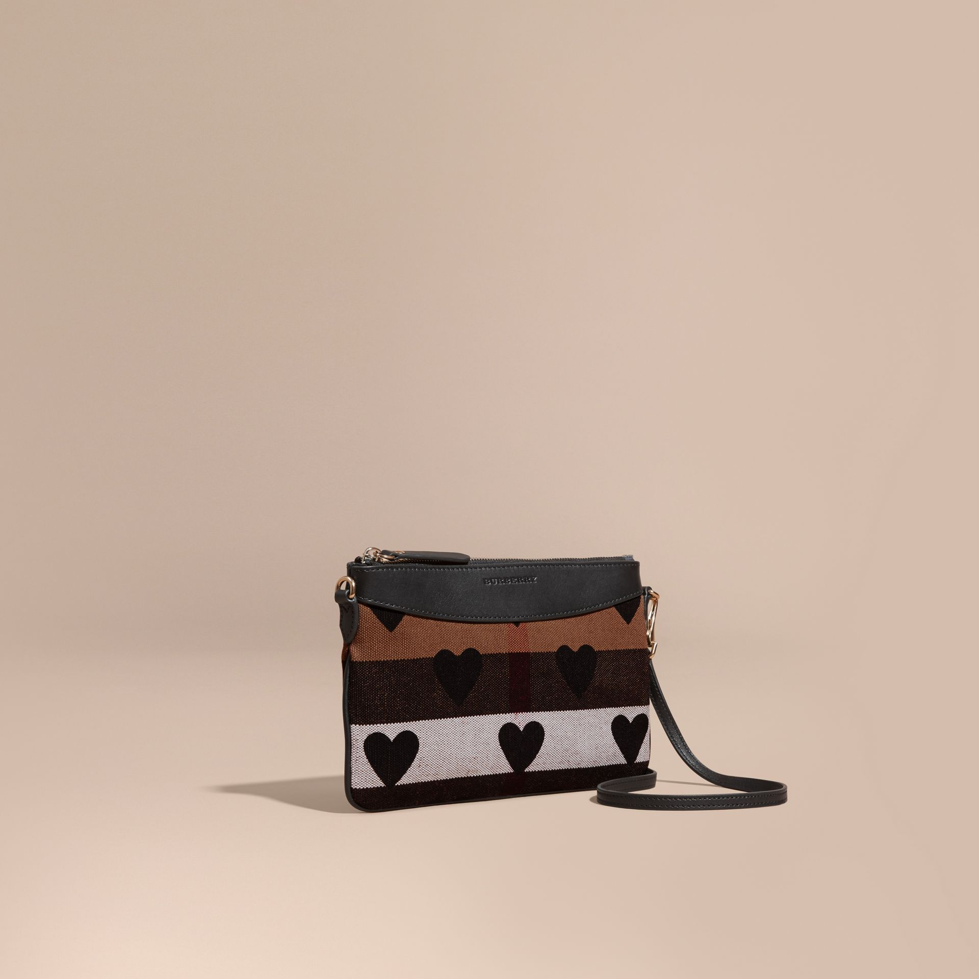 Black Heart Print Canvas Check Clutch Bag Black - gallery image 1