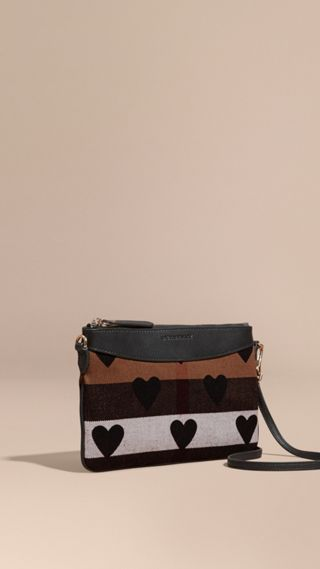 Heart Print Canvas Check Clutch Bag