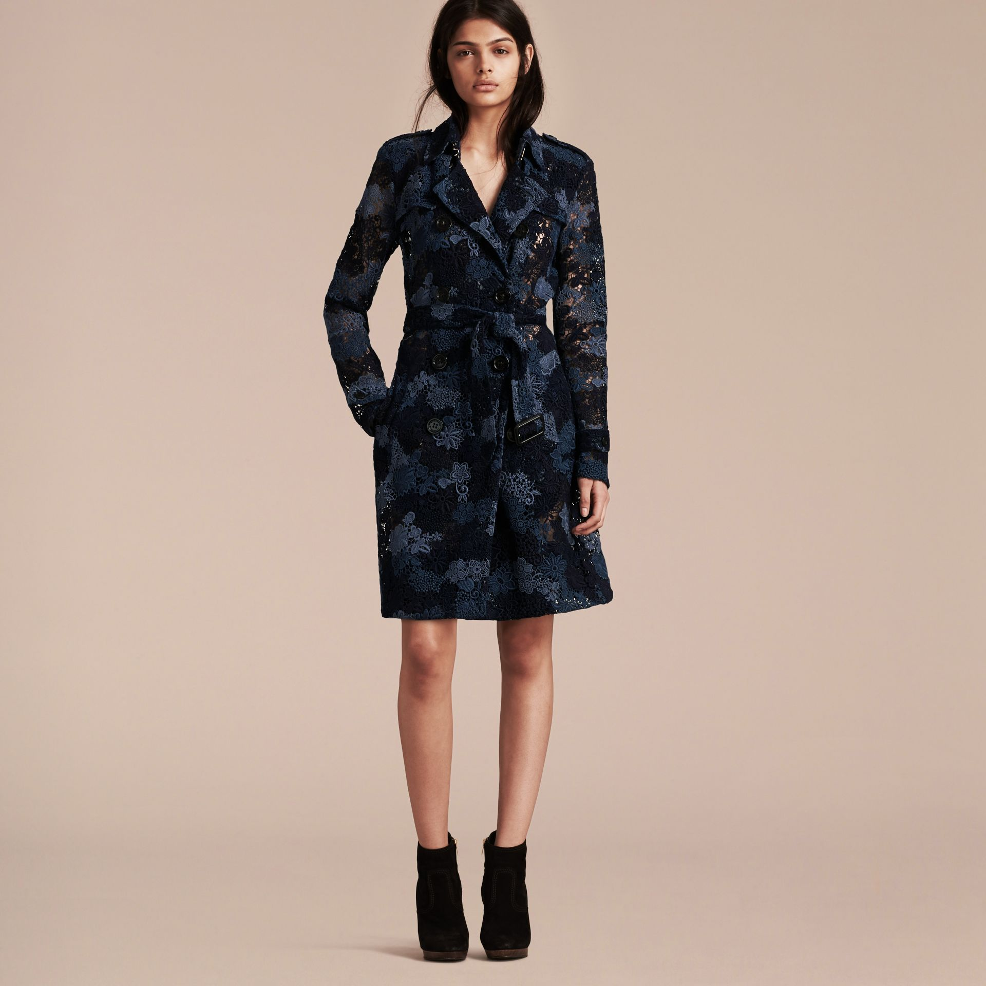 Ink blue Floral Italian Macramé Lace Trench Coat - gallery image 6