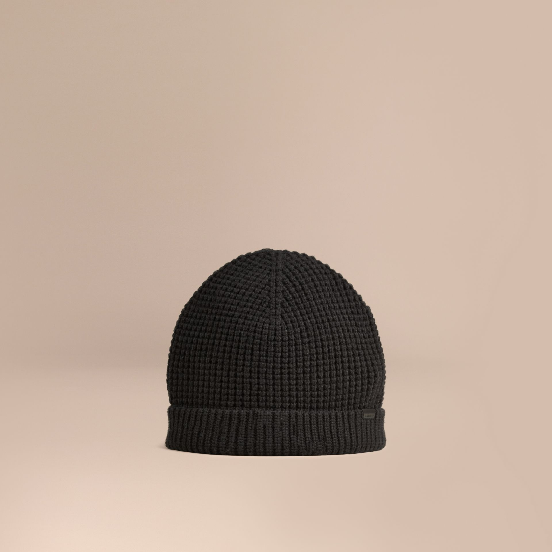 Cashmere Blend Waffle Knit Beanie in Black - Men | Burberry Canada - gallery image 1