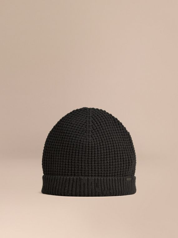 Cashmere Blend Waffle Knit Beanie in Black - Men | Burberry Australia