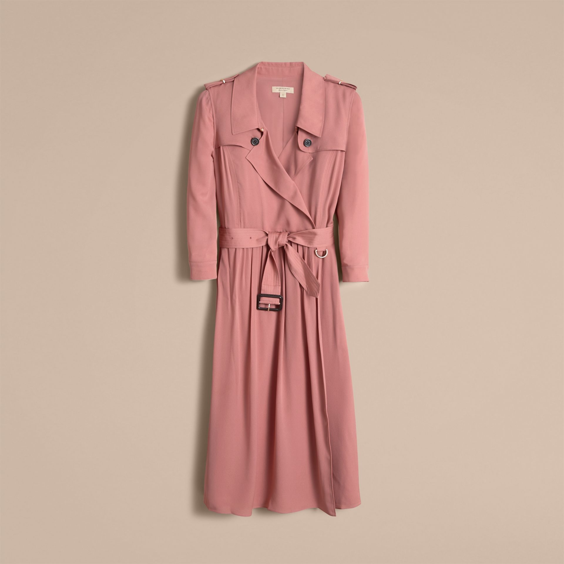 Silk Wrap Trench Dress in Light Copper Pink - gallery image 4